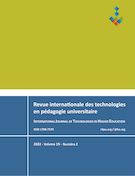 "Cover preview of ""Revue internationale des technologies en pédagogie universitaire / International Journal of Technologies in Higher Education"""