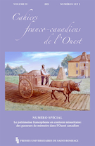 "Cover preview of ""Cahiers franco-canadiens de l'Ouest"""