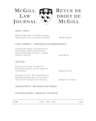 "Cover preview of ""McGill Law Journal"""
