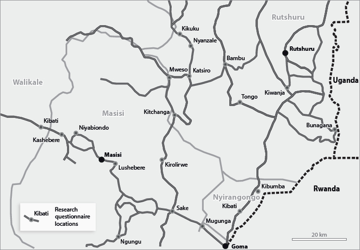 Province of North Kivu : research questionnaire locations