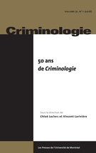 Cover forthe thematic issue50 ans de Criminologie