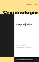 Cover for issue 'Image et justice' of the journal 'Criminologie'
