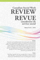 Cover of        Volume 33, Number 1, 2016, pp. 5-155 Canadian Social Work Review