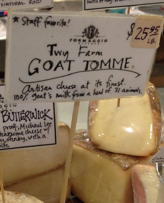 Sign for Goat Tomme