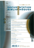 Cover of        Volume 53, Number 4, October–December 2007, pp. 189-231 Documentation et bibliothèques