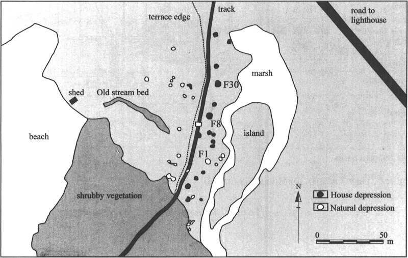 Map of the Middle Dorset Palaeoeskimo dwellings and natural depressions at Point Riche