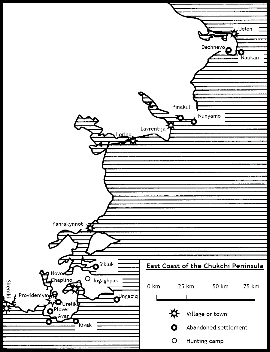 Map of the East coast of the Chukchi Peninsula.