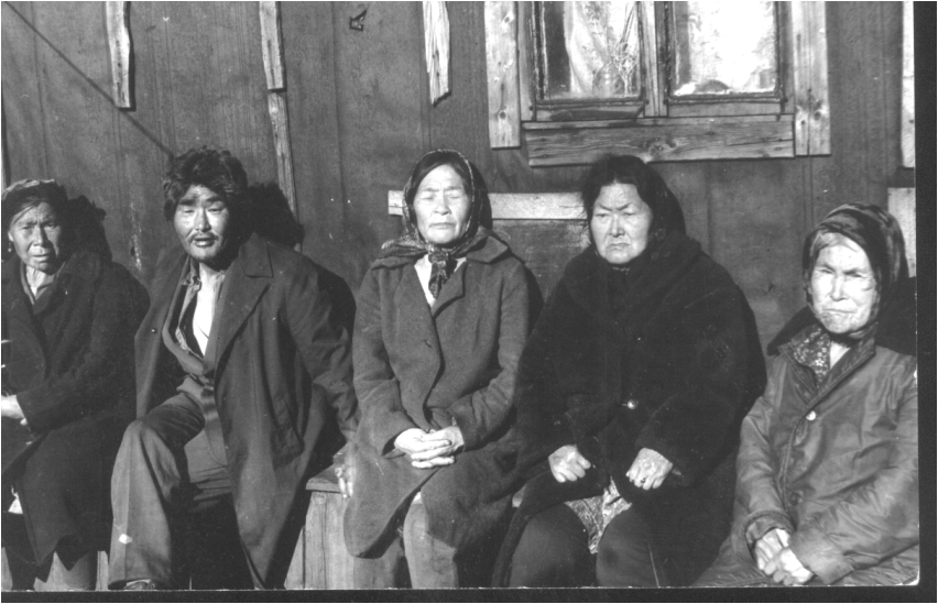 A group of the Yupik residents of New Chaplino (fall 1979), each with a long personal story of relocations.