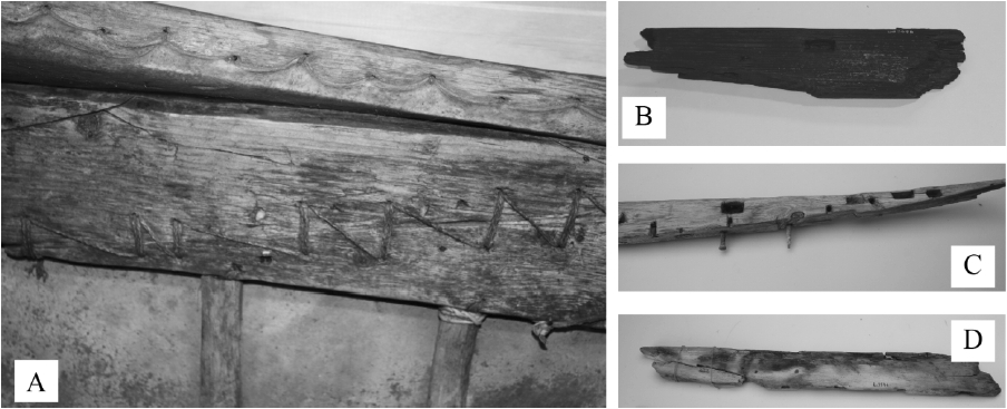 Examples of composite gunwale strakes: a) a Netsilik kayak collected by the 5th Thule Expedition (photo: courtesy of the Danish National Museum, item P30 161); b) from the Illorpaat site in West Greenland (see Gulløv 1997: 147) (photo: courtesy of the Greenland National Museum, item IGD 3696); c) from an archaeological site at Nordbø, South Greenland by H.C. Petersen (photo: courtesy of the Greenland National Museum, item KNK 171); d) a piece of the Morris Bay kayak, from Washington Land, North Greenland (see Mathiassen 1928) (photo: courtesy of the Greenland National Museum, item KNK 122). All photos by Matthew Walls