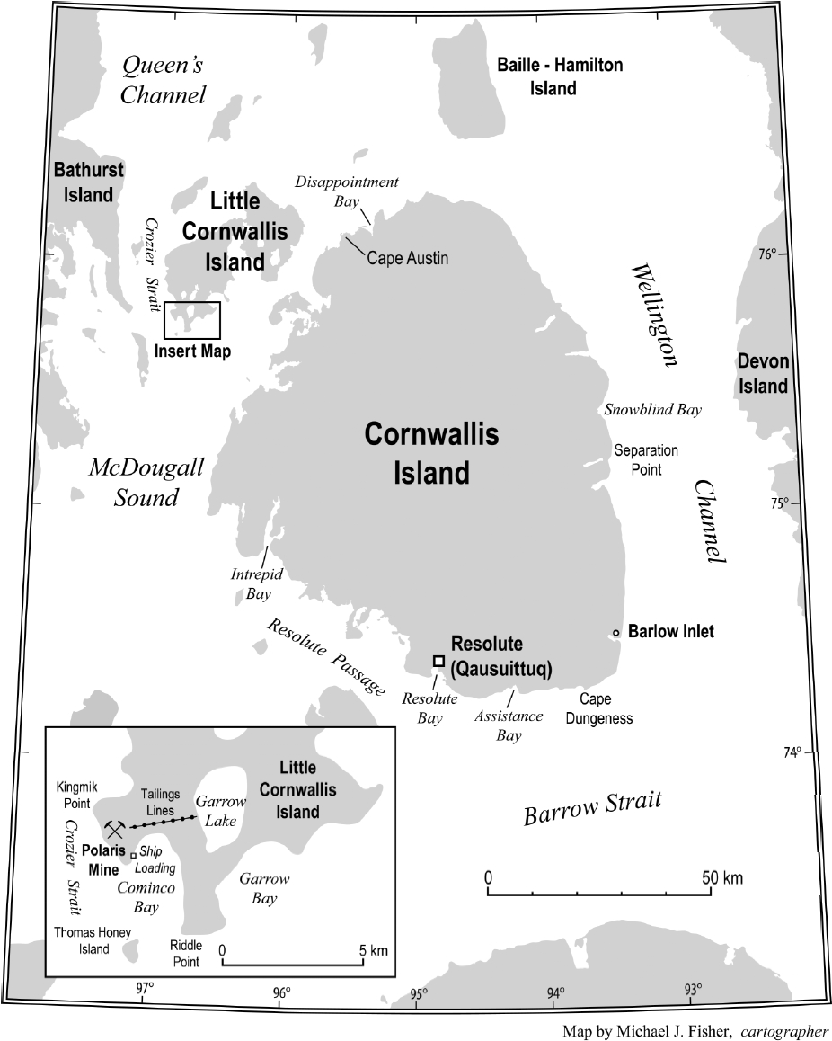 Cornwallis Island and Little Cornwallis Island, indicating Resolute Bay and the Polaris mine