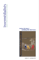 Cover of inclure (le tiers), Number 21, Spring 2013, Intermédialités