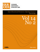Cover of Special Issue: Open Educational Resources: Opening Access to Knowledge,        Volume 14, Number 2, June 2013, pp. 1-155 International Review of Research in Open and Distributed Learning