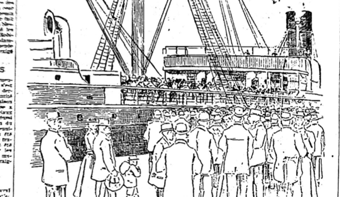 Onlookers at the Hamburg-America pier, Port of Montreal, September 15 1896.