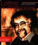 Cover of Number 75, Fall 1994, pp. 5-80, Lettres québécoises