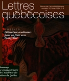 Cover of Number 76, Winter 1994, pp. 5-64, Lettres québécoises