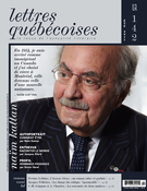 Cover of Number 142, Summer 2011, pp. 3-72, Lettres québécoises