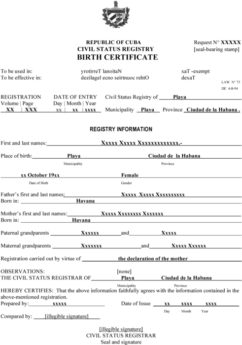 cuban birth certificate