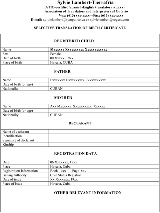 birth certificate translation template - templating as a strategy for translating offici meta