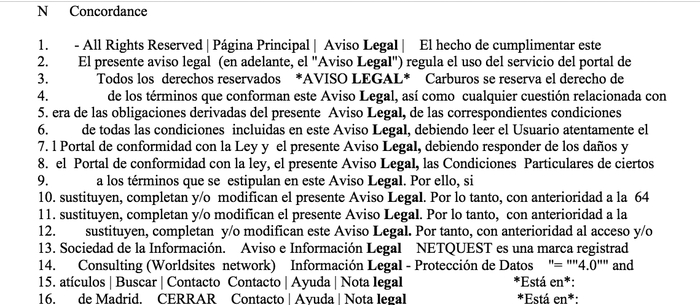 Extract from the Concordance Analysis for the Word legal in the Corpus of Original Spanish Websites