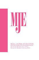 Cover of        Volume 47, Number 3, Fall 2012, pp. 271-459 McGill Journal of Education