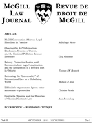 Cover of        Volume 59, Number 1, September 2013, pp. 1-224 McGill Law Journal