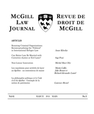 Cover of Volume 61, Number 3, March 2016, pp. 461-719, McGill Law Journal