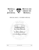 Cover of Indigenous Law and Legal Pluralism,        Volume 61, Number 4, June 2016, pp. 721-1028 McGill Law Journal