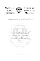 Cover for issue 'Unwritten Constitutional Norms and Principles: Contemporary Perspectives' of the journal 'McGill Law Journal / Revue de droit de McGill'