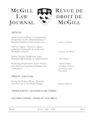 Cover for issue 'Volume 65, Number 4, June 2020' of the journal 'McGill Law Journal / Revue de droit de McGill'