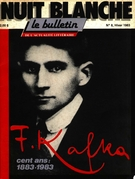 Cover of Franz Kafka, Number 8, Winter 1983, pp. 2-54, Nuit blanche, magazine littéraire