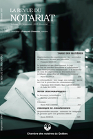 Cover of Volume 107, Number 2, September 2005, pp. 229-378, Revue du notariat