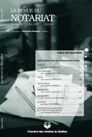Cover of REVUE SÉLECTIVE DE JURISPRUDENCE 2005, Volume 108, Number 1, March 2006, pp. 1-210, Revue du notariat