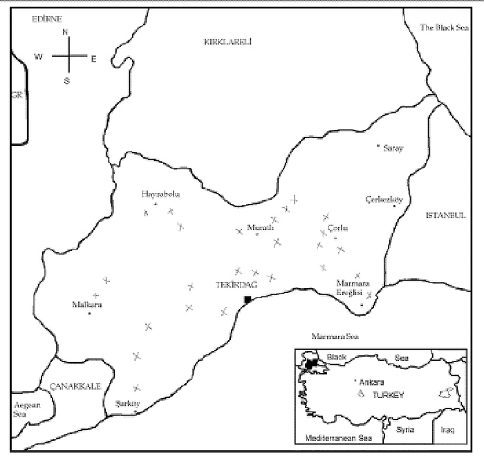Location of collected wheat samples in Tekirdag province, Turkey.