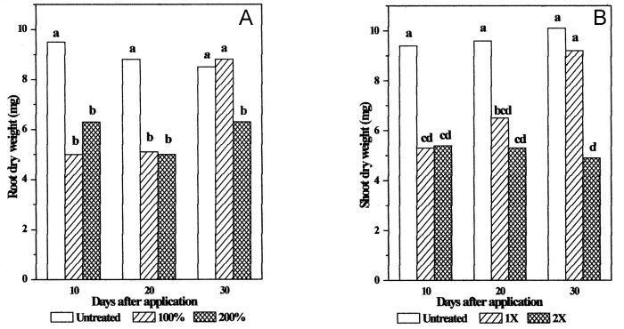 Bentazon effects on red clover root (A) and shoot (B) dry weight.