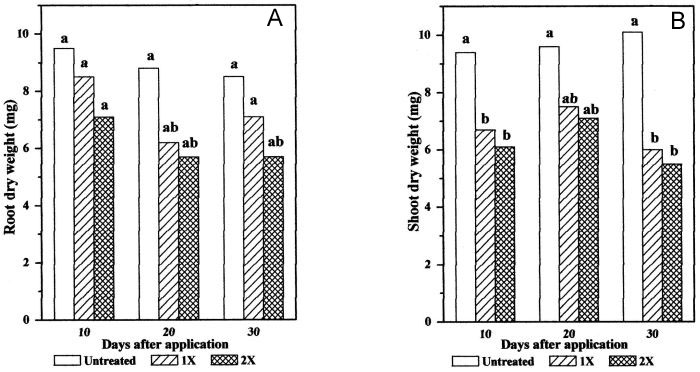 MCPA effect on red clover root (A) and shoot (B) dry weight.