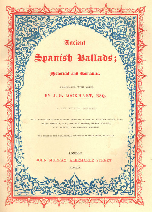 Title-page from Ancient Spanish Ballads: Historical and Romantic.
