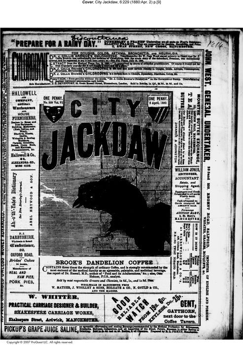 The City Jackdaw 2 April 1880. Cover
