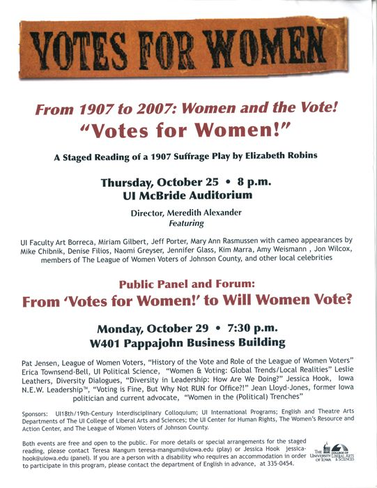 Poster announcing staged reading of Votes for Women, Iowa University, 25 Oct. 2007