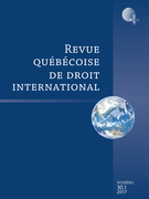 Cover of Volume 30, Number 1, 2017, pp. 1-172, Revue québécoise de droit international