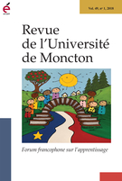 Cover of Forum francophone sur l'apprentissage, Volume 49, Number 1, 2018, pp. 1-196, Revue de l'Université de Moncton