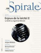 Cover of Enjeux de la laïcité II, Number 235, Winter 2011, pp. 3-79, Spirale