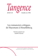 Cover forthe thematic issueLes romanciers critiques, de Huysmans à Houellebecq
