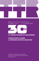 Cover forthe thematic issueLa traductologie en mouvement