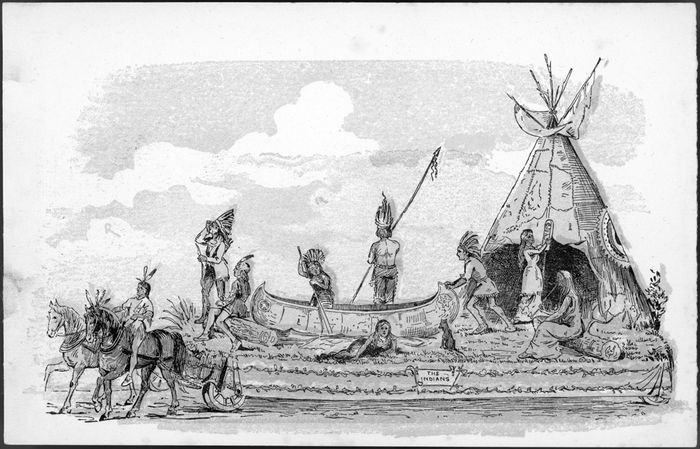 """The Indian Wigwam,"" a tableau in the Toronto Semi-Centennial Parade, 1884"
