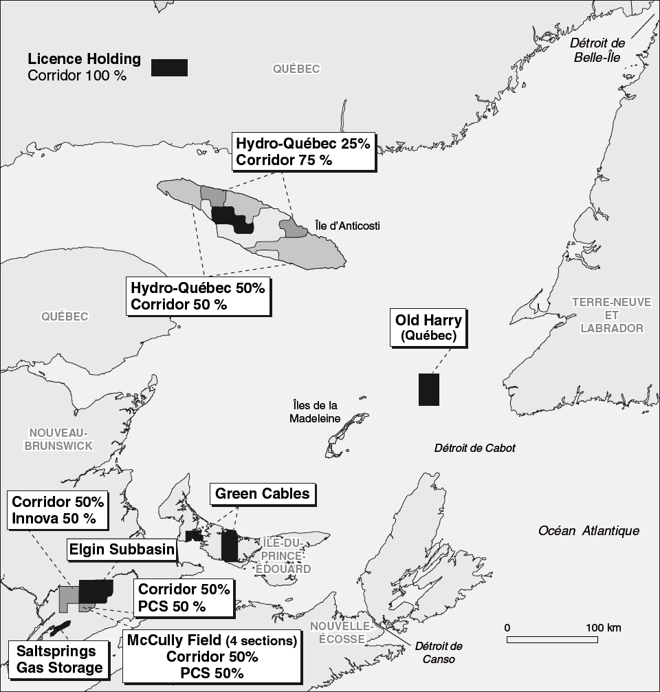 Permis d'exploration de la compagnie Corridor Resources Inc. dans le golfe du Saint-Laurent