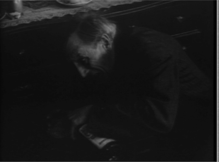 An angled camera position emphasizes the character's plight in His Great Uncle's Spirit (1912).