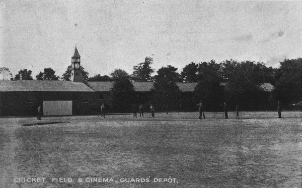 "Postcard, ""Cricket Field & Cinema, Guard's Depot,"" printed in England by A.N.C.S. Ltd., n.d."