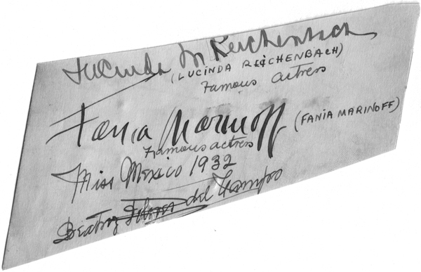 Autograph of Fania Marinoff, c. 1930s, unauthenticated.