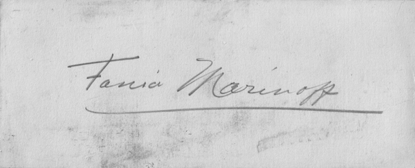 Autograph of Fania Marinoff, n.d., unauthenticated.