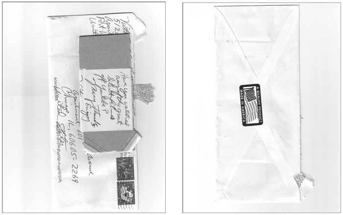 Envelope, recto/verso, sent to author from eBay seller (2013).